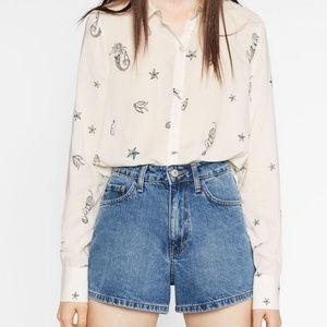 Zara Cream Ivory Mermaid Button Down Shirt XS